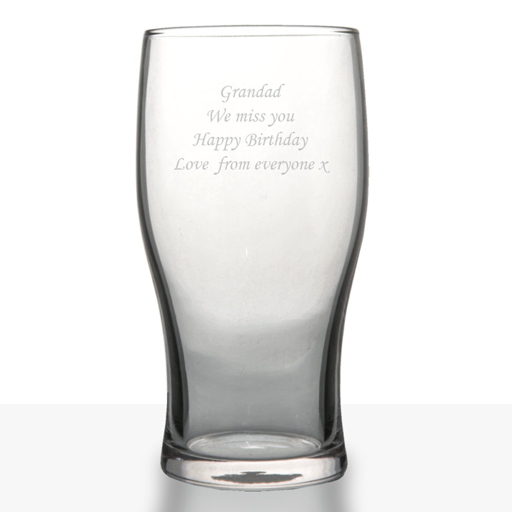 Engraved Beer Glass Traditional Pint Glass Lager Glass