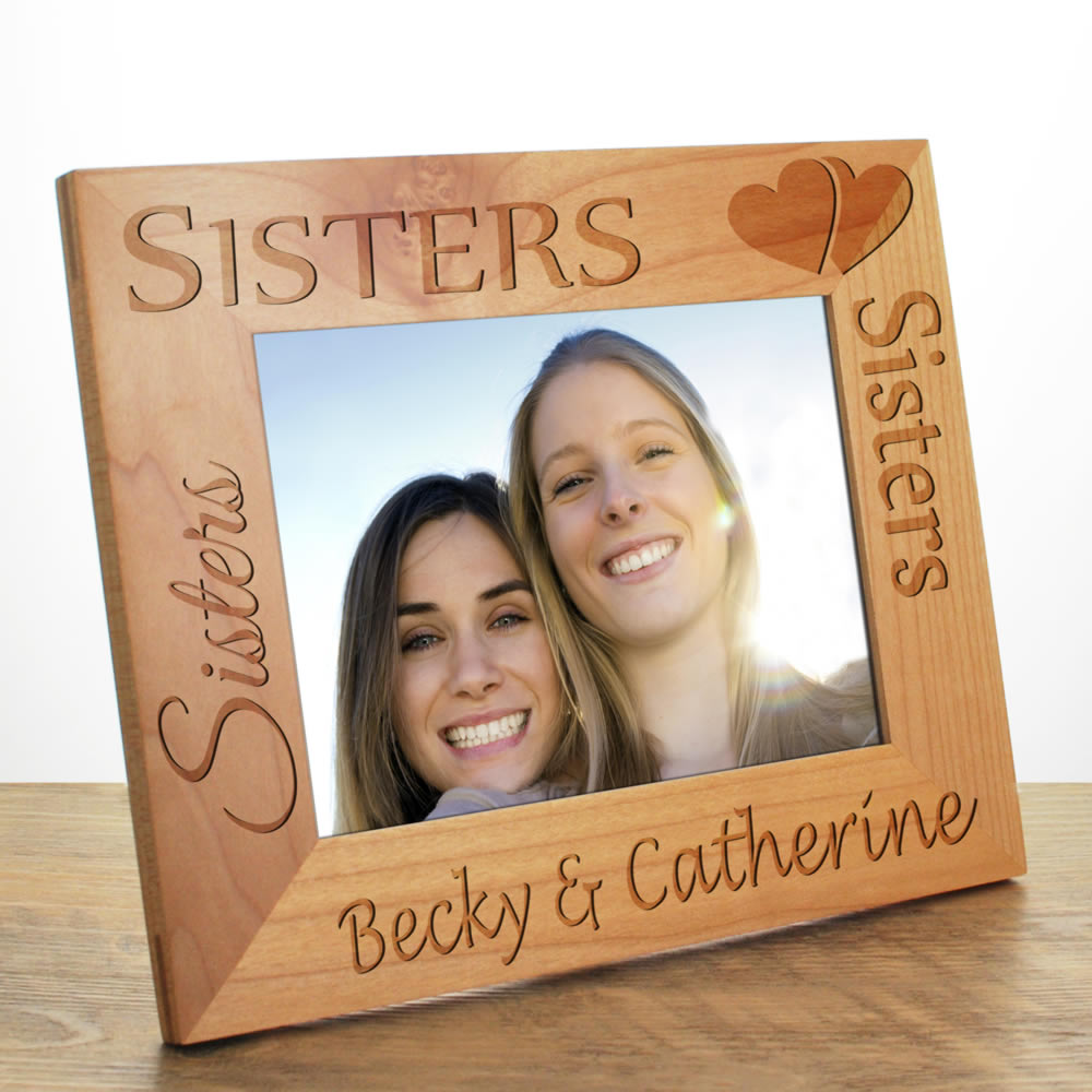 sisters photo frame personalised