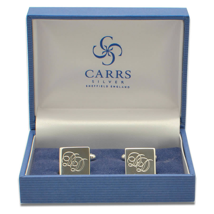 Engraved Sterling Silver Cufflinks With Logo Engraving