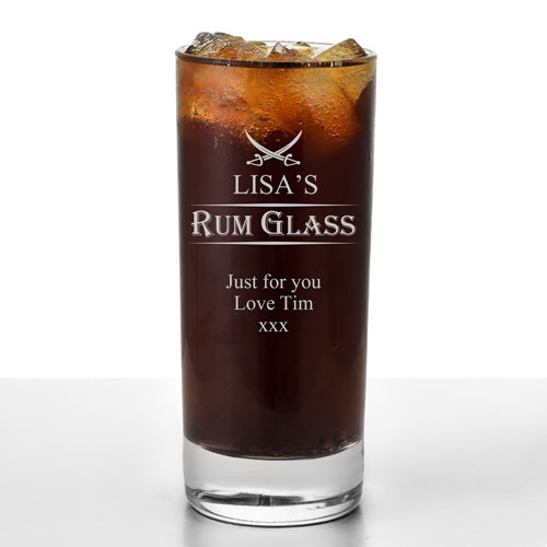 Engraved Tall Rum Glass Any Name And Message