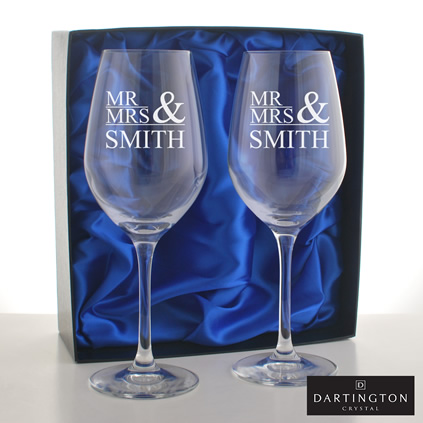 Personalised Mr And Mrs Wine Glasses