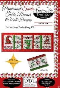 Peppermint Santa Table Runner and Wall Hanging Embroidery ...