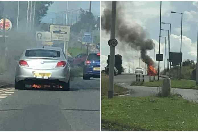 Photos from the scene show the taxi engulfed in flames (Image: Gillian MacDonald/ Gina Clark/ Facebook)