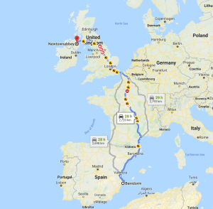 Irish taxi driver travels 1,714 miles from Northern Ireland to Spain to pick up a regular who suffered from a head injury.