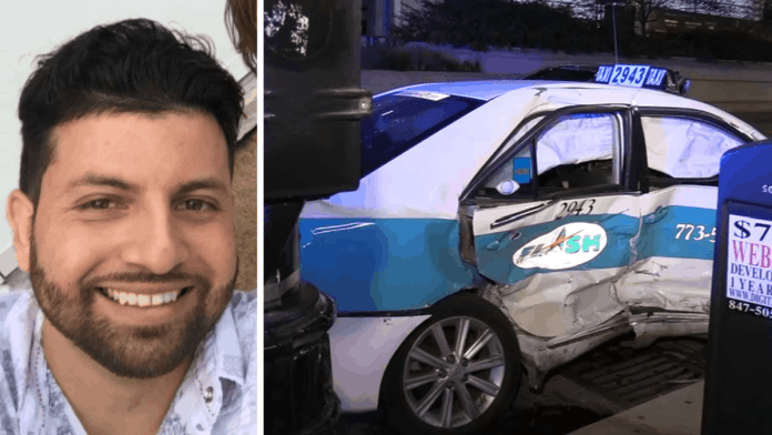 33-year-old Hans Monroy was riding was traveling in a Flash Cab taxi on Washington Street when it collided with Mustang