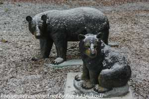 snow covered bear sculptures