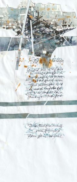 Design of image/writing suggestion in watercolor and collage on wrinkled paper.