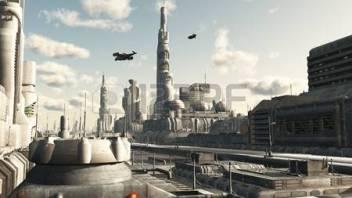 11189389-futuristisch-sci-fi-city-street-view-3d-digitaal-teruggegeven-illustratie