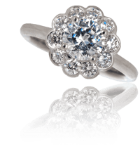 Custom Daisy Diamond Engagement Ring - Keezing Kreations