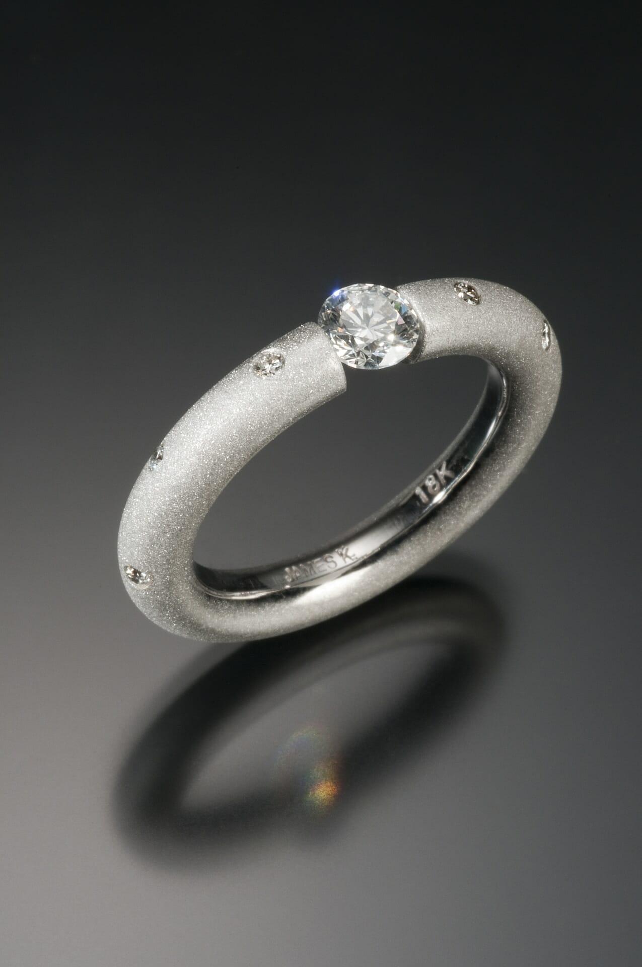 18K Tension Set Diamond Ring Keezing Kreations Boston MA