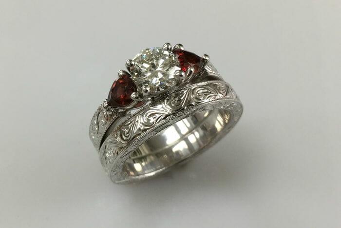 Tereza Diamond Garnet Engagement Ring And Wedding Band Set