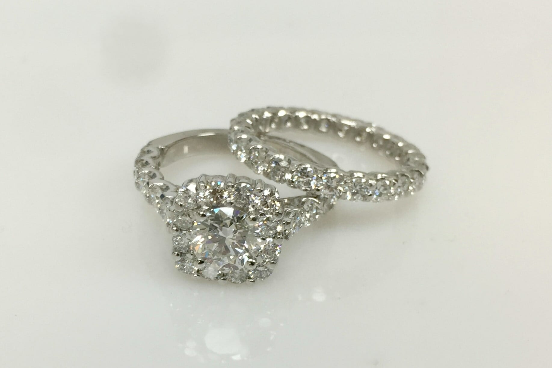 Diamond Halo Engagement Ring With Matching Wedding Band Keezing Kreations