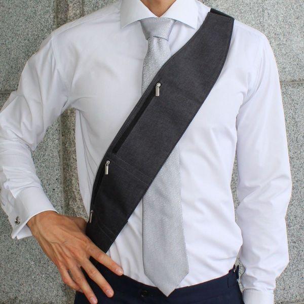 KeFigo sash dark-grey, unisex, sash bag, crossbody purse, sling bag, utility bag