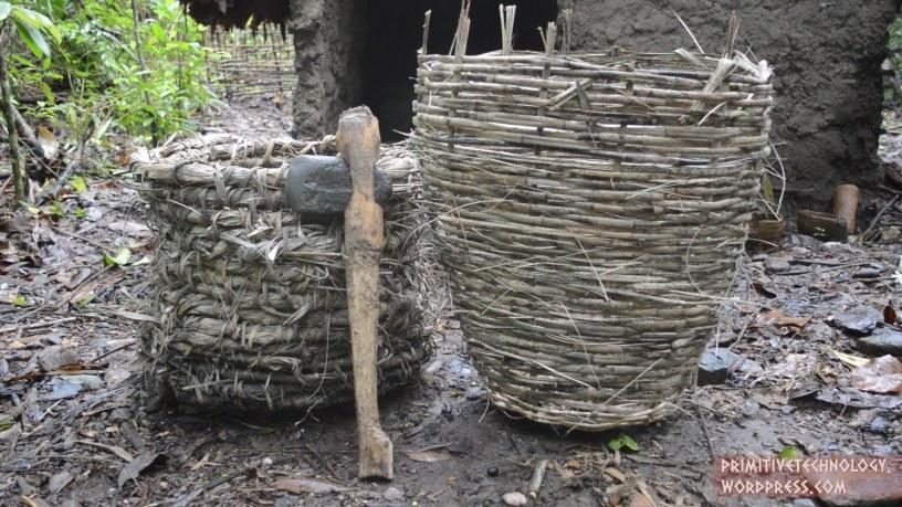 Baskets and stone hatchet