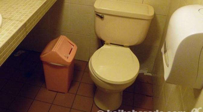 トイレットペーパーは備え付けのゴミ箱に!