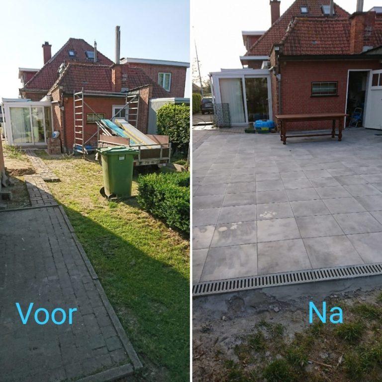 terras voor en na