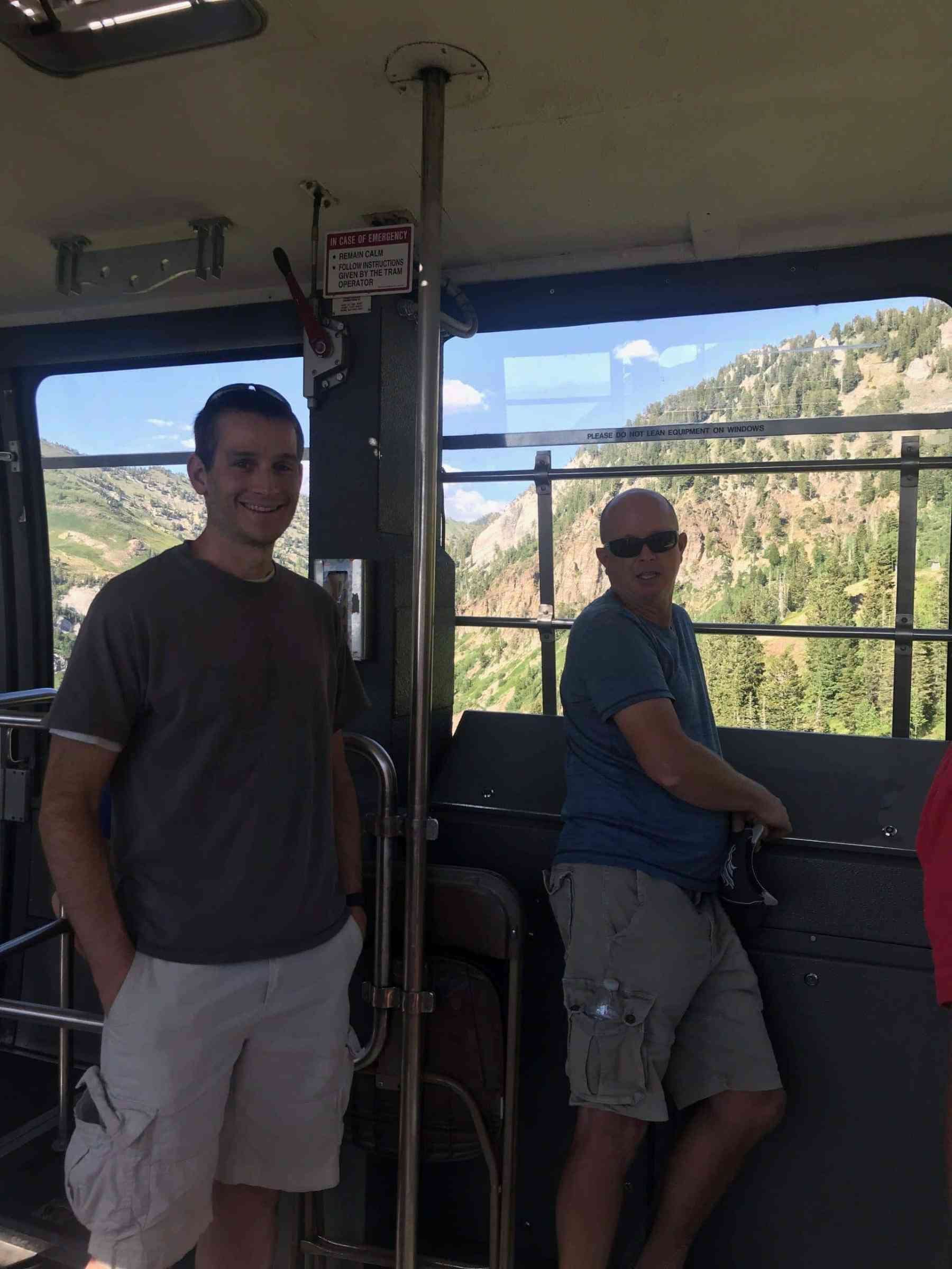 Riding the tram to the top!