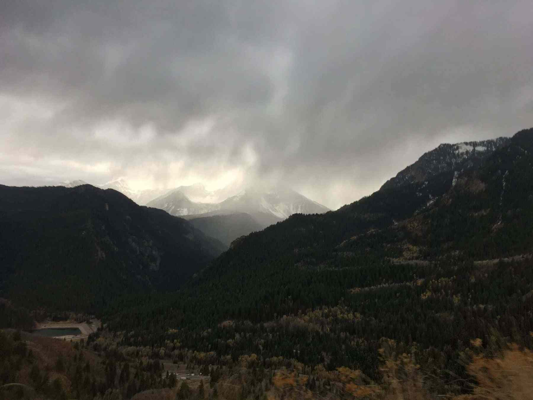 Storm moving in as we left, overlooking Tibble Fork Reservoir