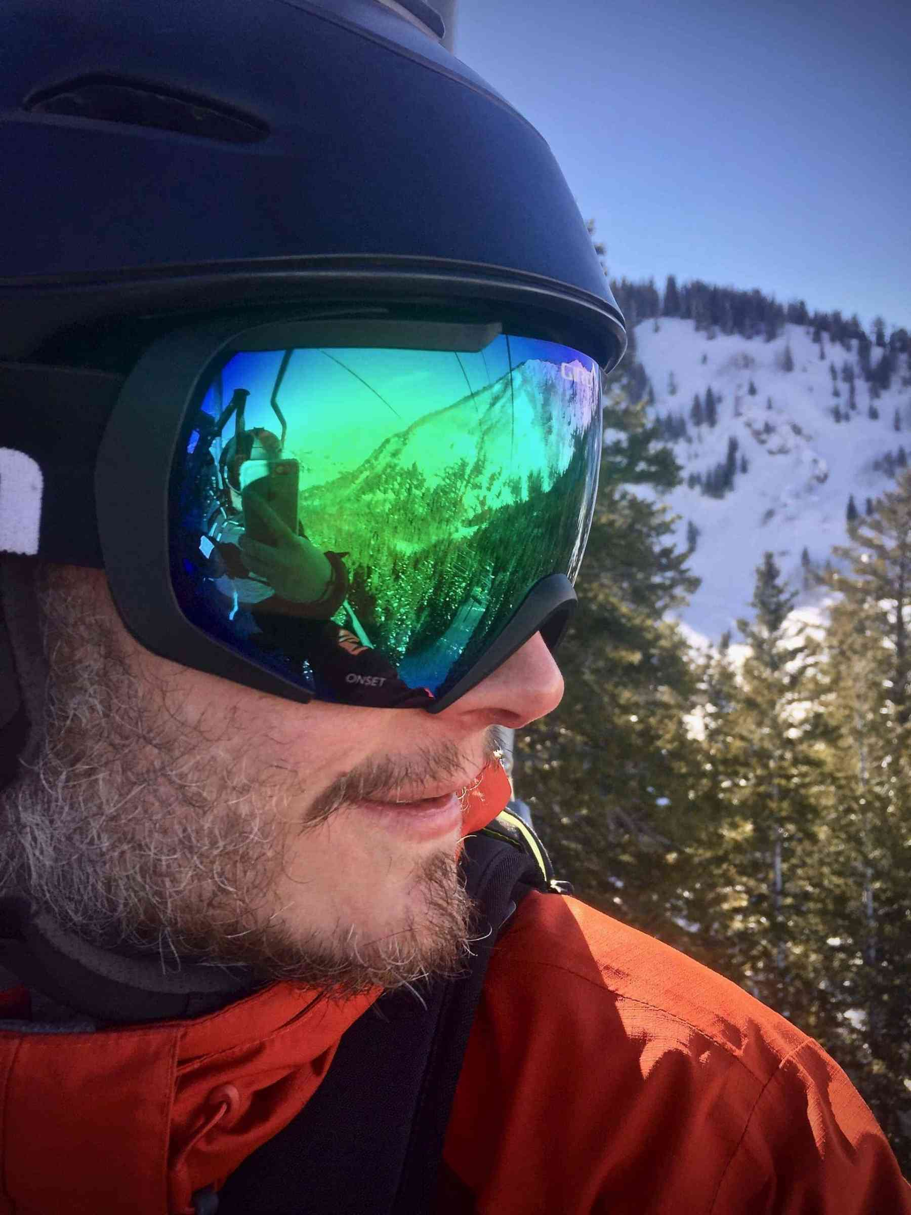 Mountain reflection in Keith's goggles