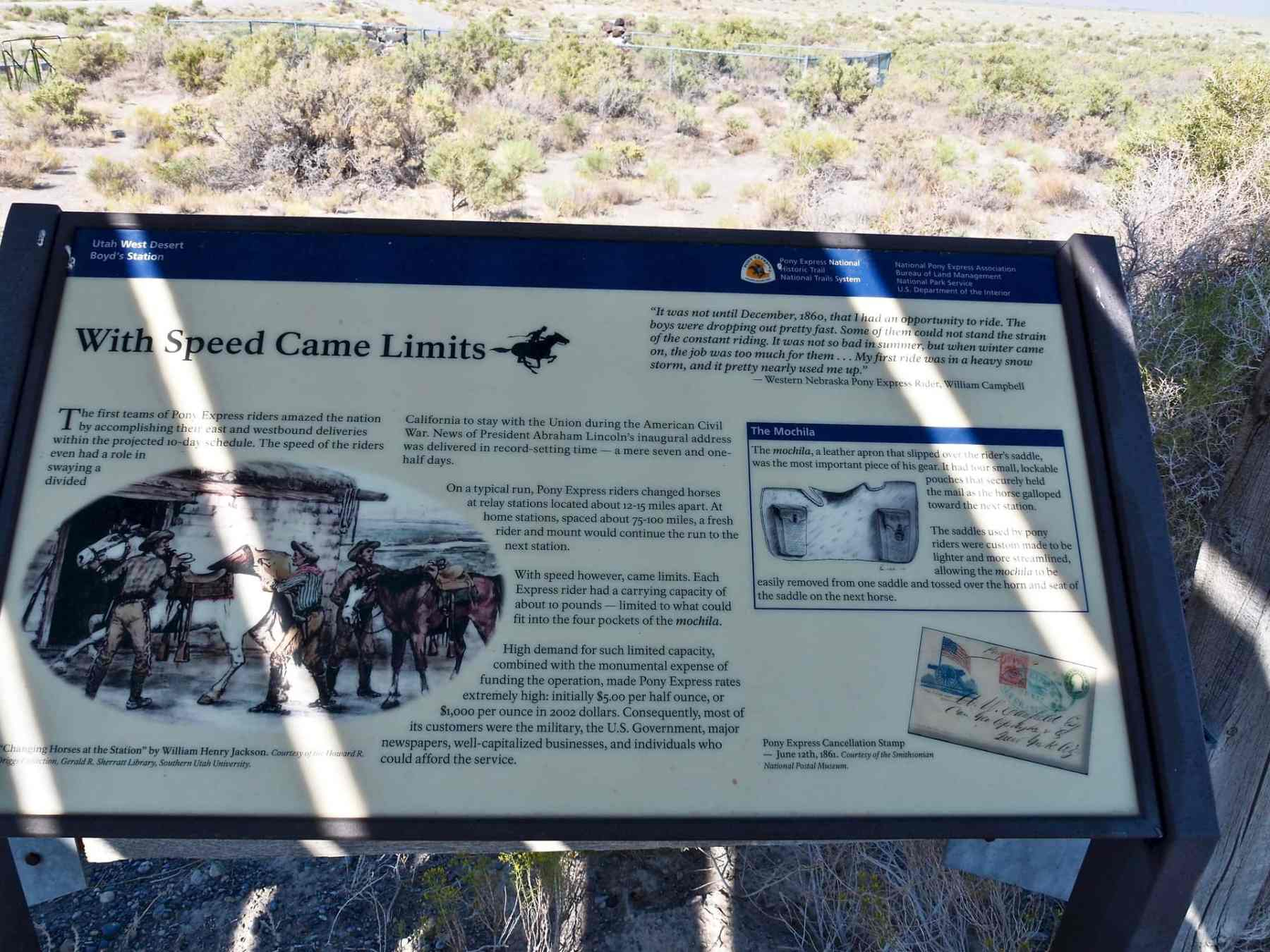 informational signage along the Pony Express Route