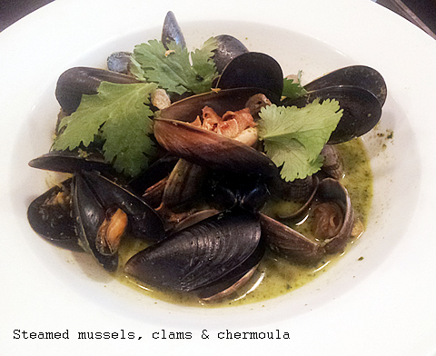 Steamed Mussels Clams and Chermoula