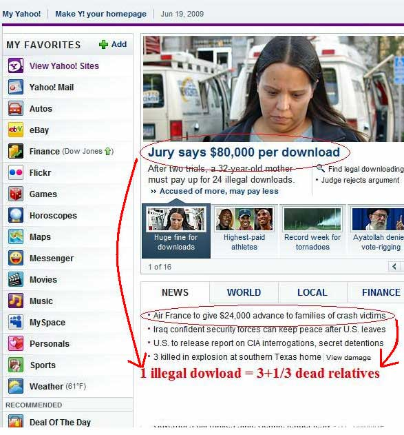 Illegal downloads dead relatives