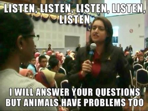 Sharifah telling Bawani to Listen Listen Listen
