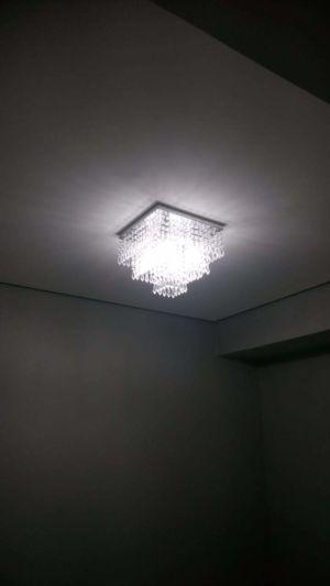 Instalação da luminária da sala ( cristal)