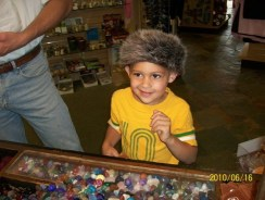 Caleb in Racoon hat