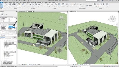 Revit 2019-Medical Center Building Model from multiple angles