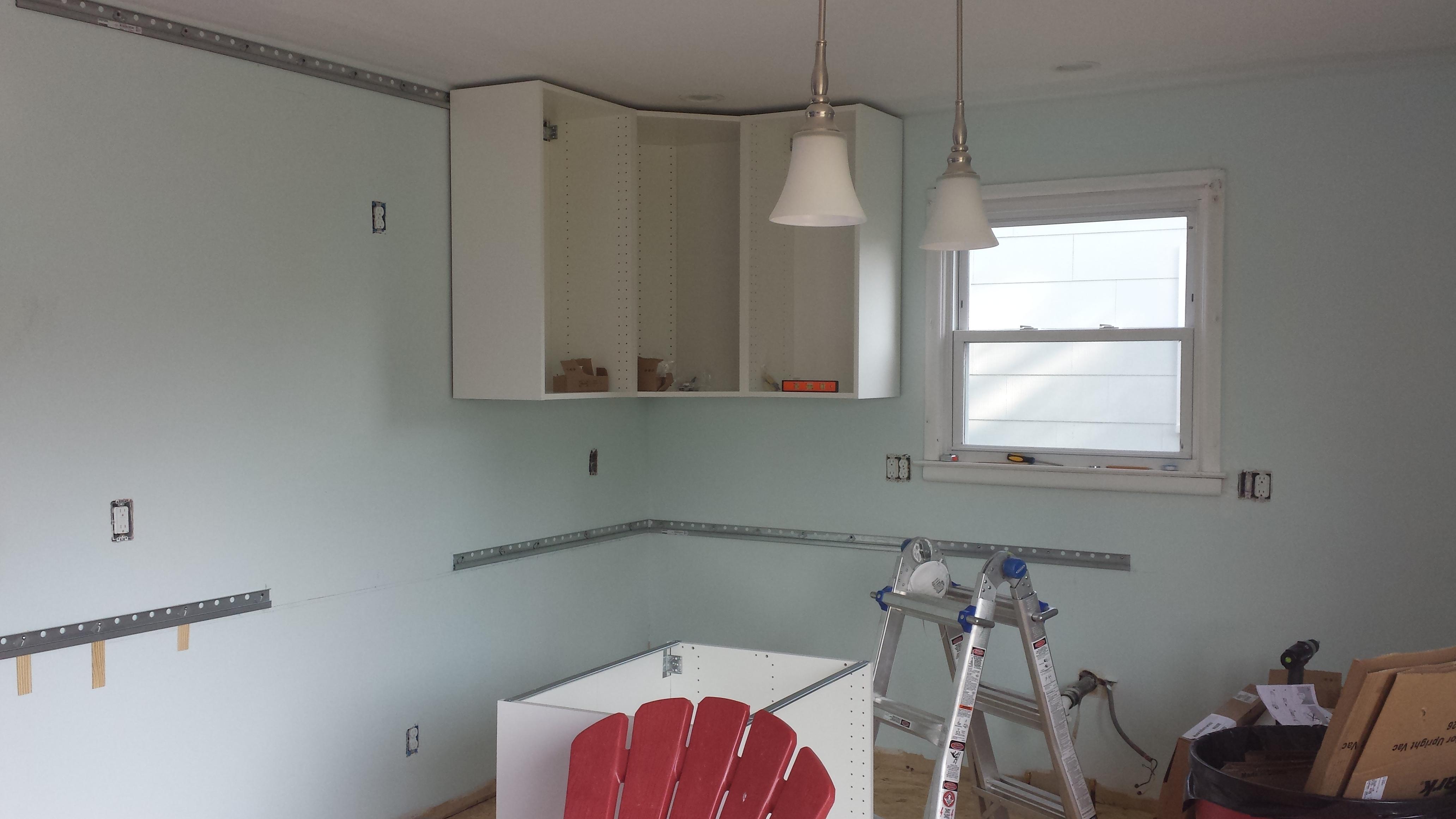 ikea kitchen cabinet installation wall decor ideas  round 2 hanging cabinets