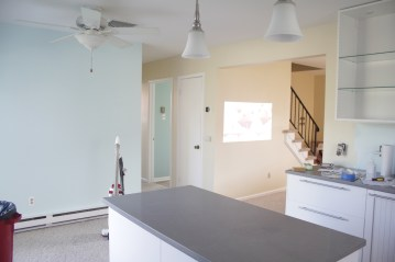 Kitchen Island, Dining, and some of the living room.