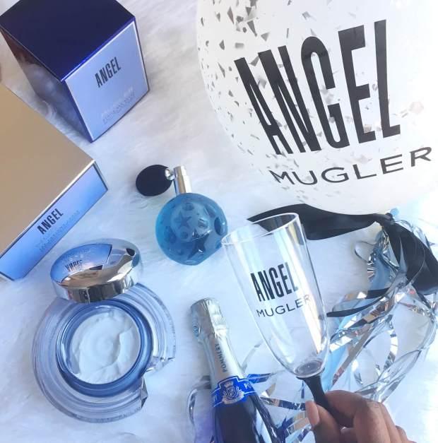 perfume, body cream, balloon and champagne Mugler