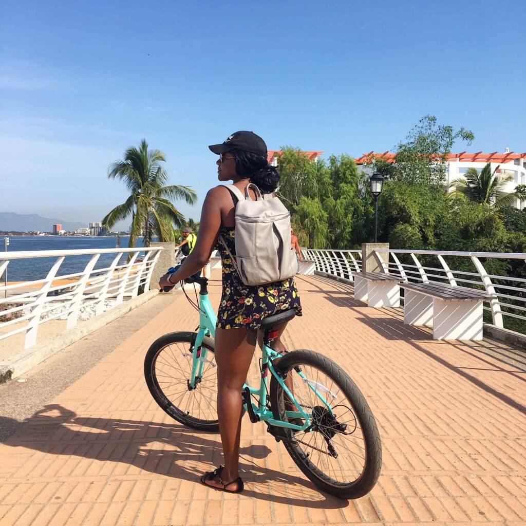 a person biking