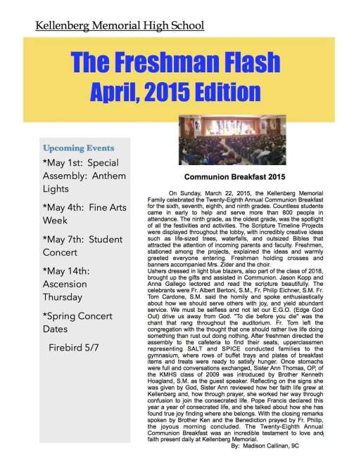 Freshman Newspaper 3 2015