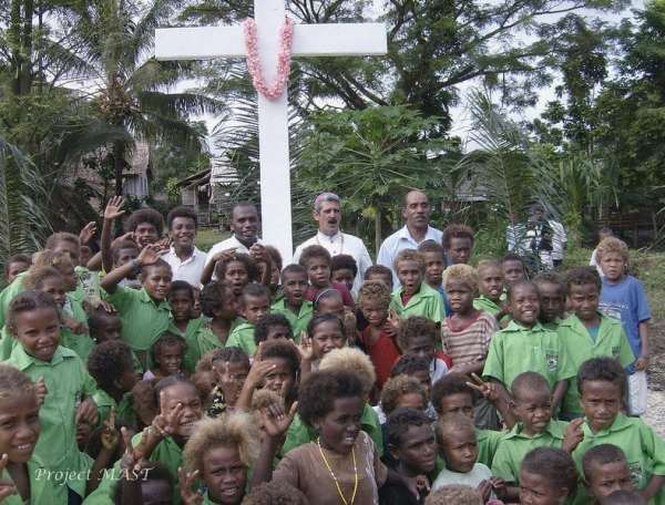 Bishop Chris Cardone, O.P. with school children from the Solomon Islands (2009)