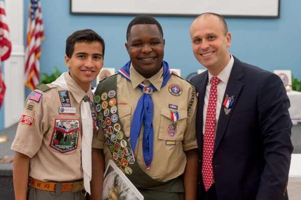 Shane Jackson (center) with fellow Eagle Scouts Nicholas Castelli '17 & Jeffery Harris '03