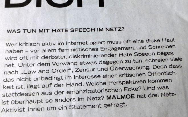 MALMOE fragt, 'Was tun mit hate speech im Netz?'