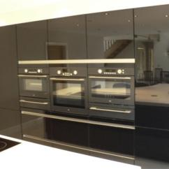 Black Kitchen Island With Seating Semi Custom Cabinets Fitted Kitchens Preston Lancashire