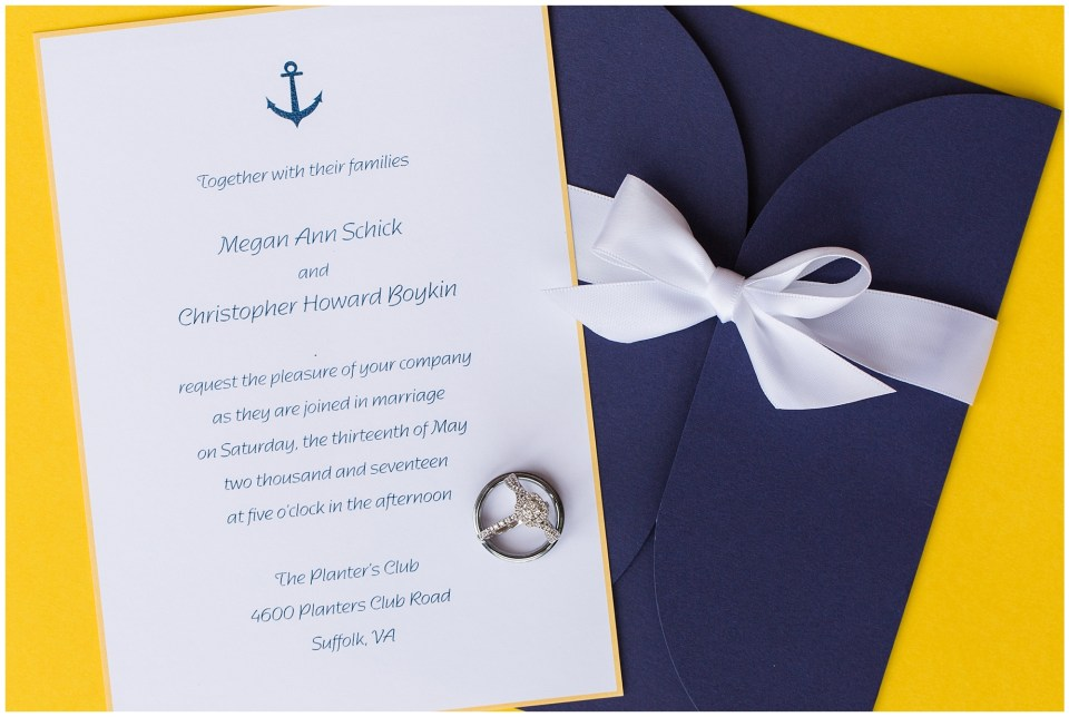 navy and yellow wedding invitation