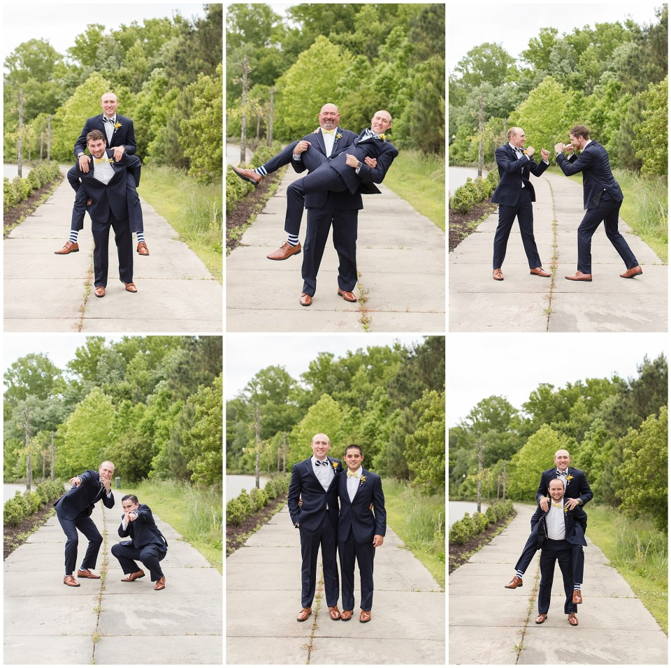groom and groomsmen funny poses