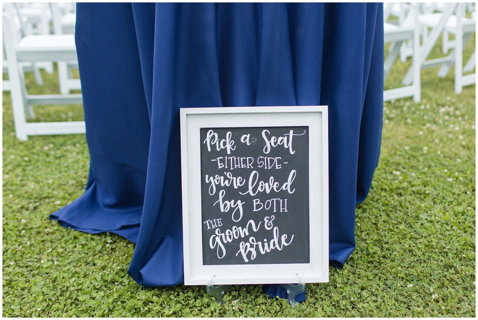 pick a seat chalkboard wedding sign