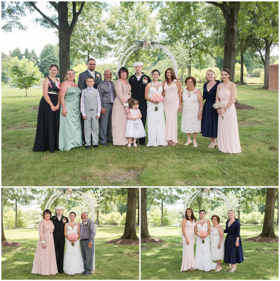 family portraits on wedding day