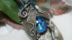 PMC and Dichroic Glass Leaf Pendant