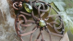 Copper Celtic Cross Wire Wrapped Pendant
