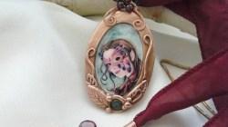 Faerie Carnivale Copper Clay and Wire Pendant