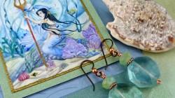 Watercolor Mermaid Gift Card with Earrings