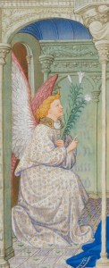 Detail of the angel in the Limbourg Annunciation illustration