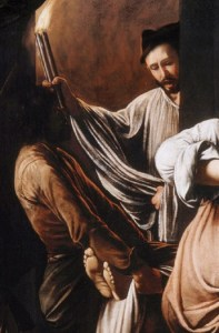detail from Caravaggio's Seven Works of Human Kindness