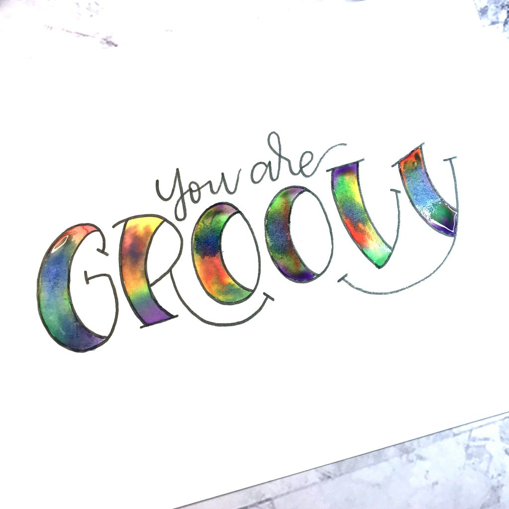 Groovy Tie Dye Lettering With Watercolor Kelly Creates